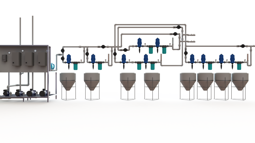 Direct injection, automated Dosatron fertigation system.